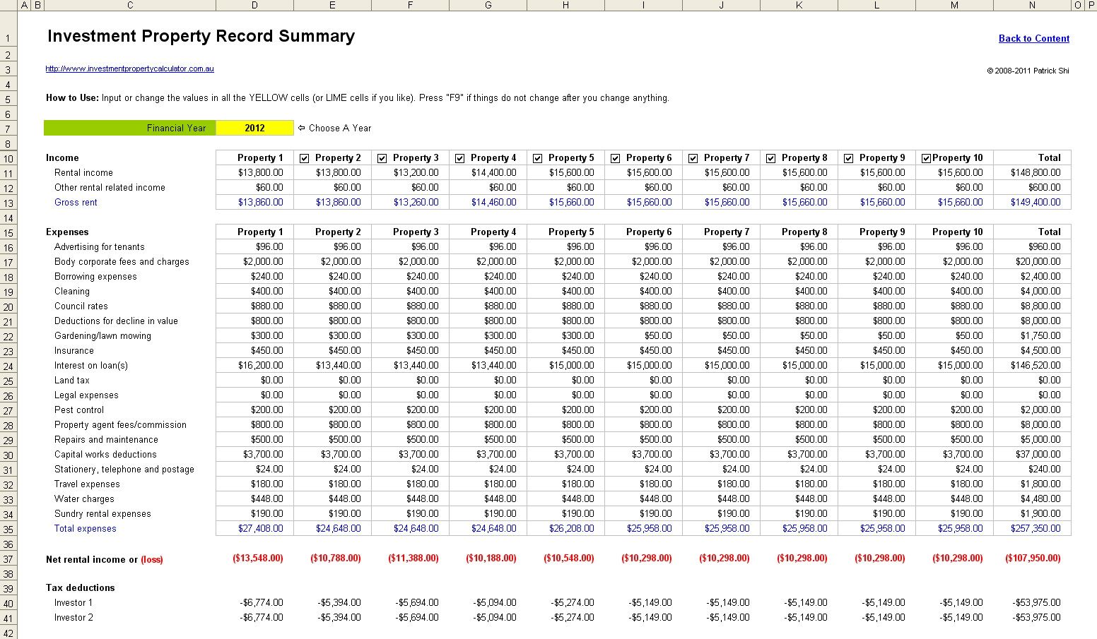 FREE Rental Property Investment Management Spreadsheet